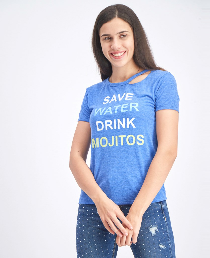 Women's Short Sleeve Graphic Tee, Wash Blue