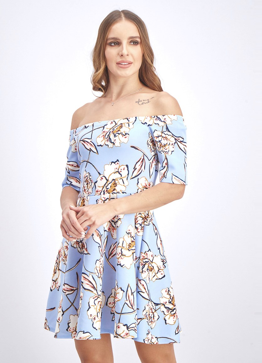 Women's Floral Fit & Flare Dress, Light Blue