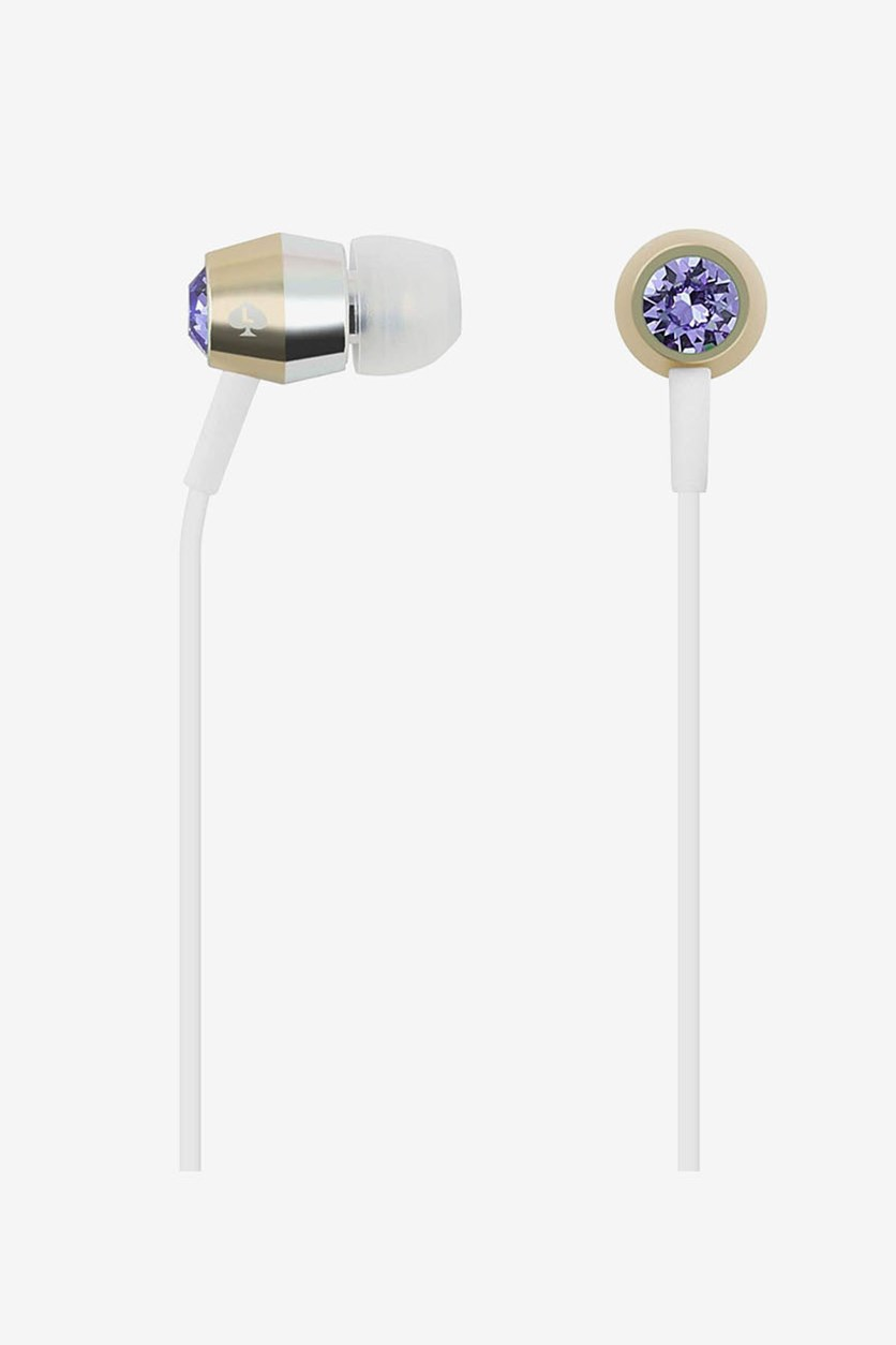 Studded Signature Earbuds, Tanzanite/Gold/Silver