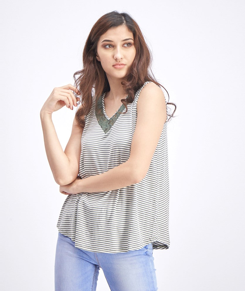 Women's Striped Top, Olive/White