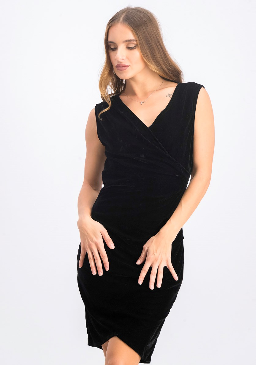 Women's Wrap Over Dress, Velvet Black