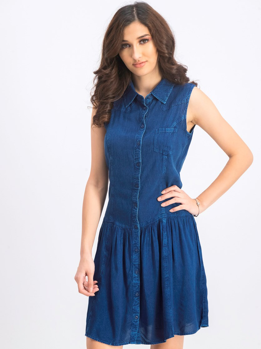 Women's Denim Wash Dress, Navy
