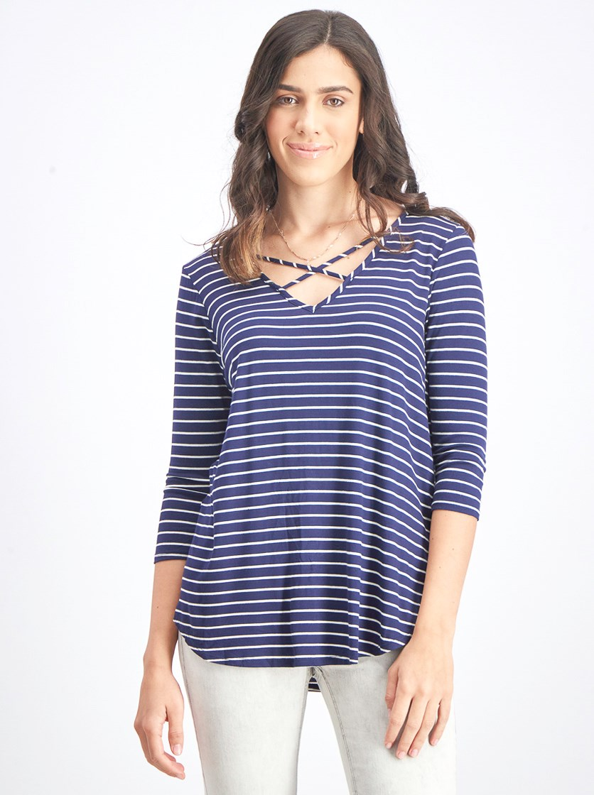 Women's Stripe 3/4 Top, Navy/White