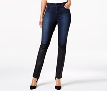 Nydj Alina Coated Black Coal Wash Skinny Jeans, Navy