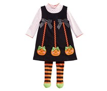 Blueberi Boulevard Baby Girl's 3-Pc. Pumkin Jumper, Black/Orange