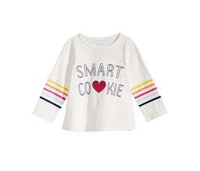 First Impressions Baby Girls Smart Cookie-Print Cotton T-Shirt, White