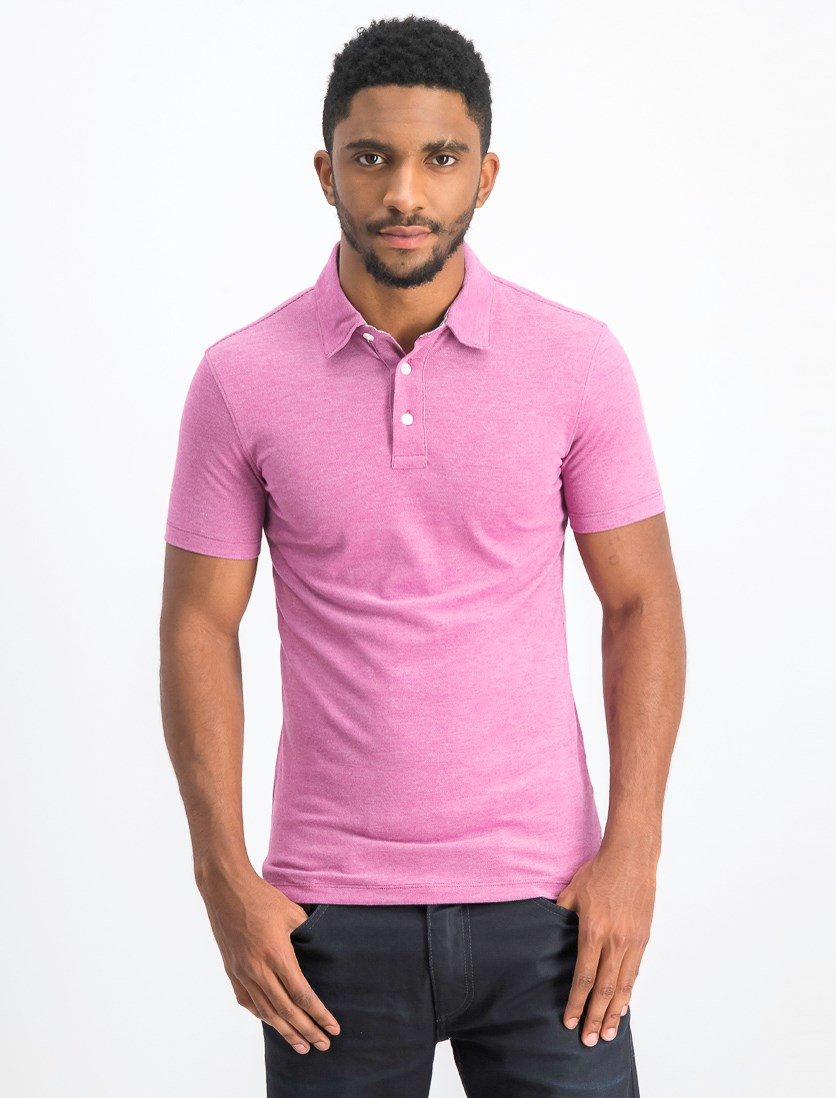Men's Slim Fit Pique Polo Shirt, Purple