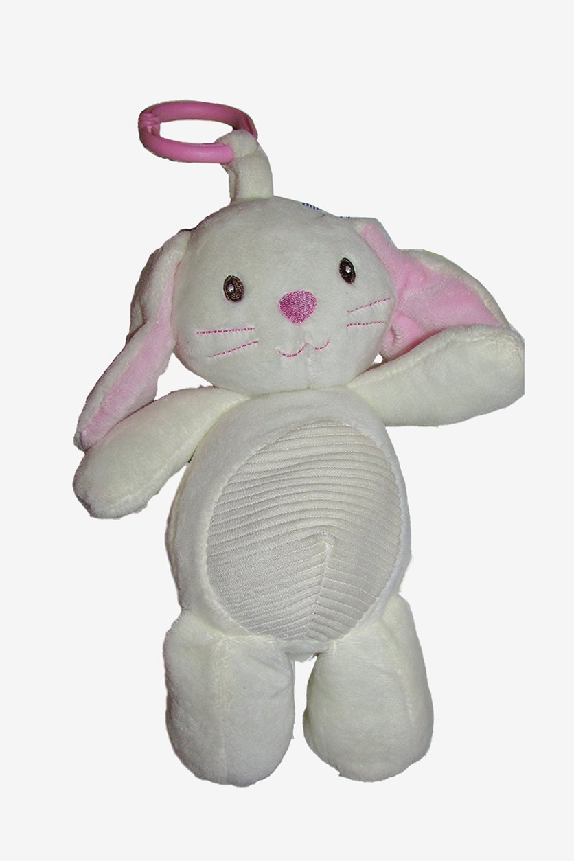 Plush Bunny Rattle Crinkle Ears, White/Pink