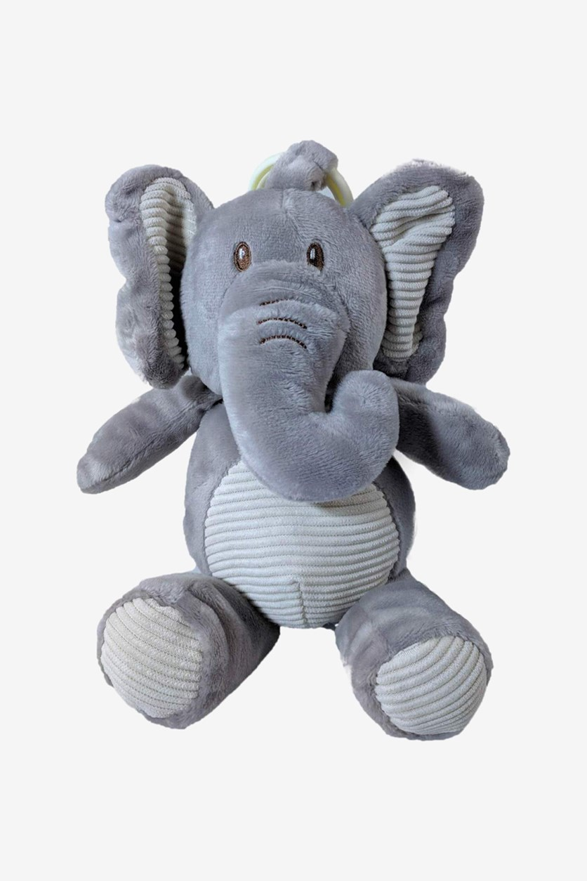 Elephant Rattle W/ Crinkle Ears Clip-on Hang Toy, Gray