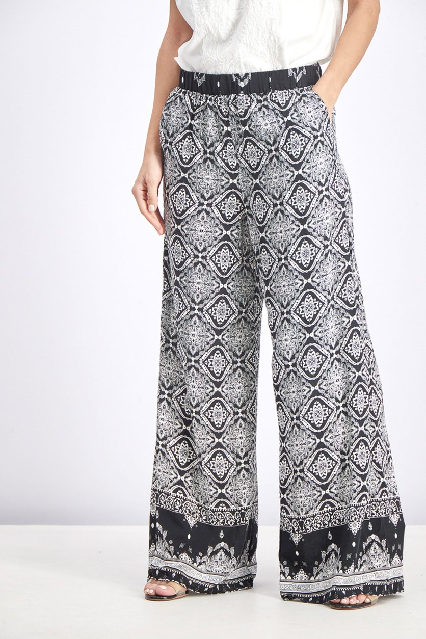 Margery Printed Wide Leg Pant, Black