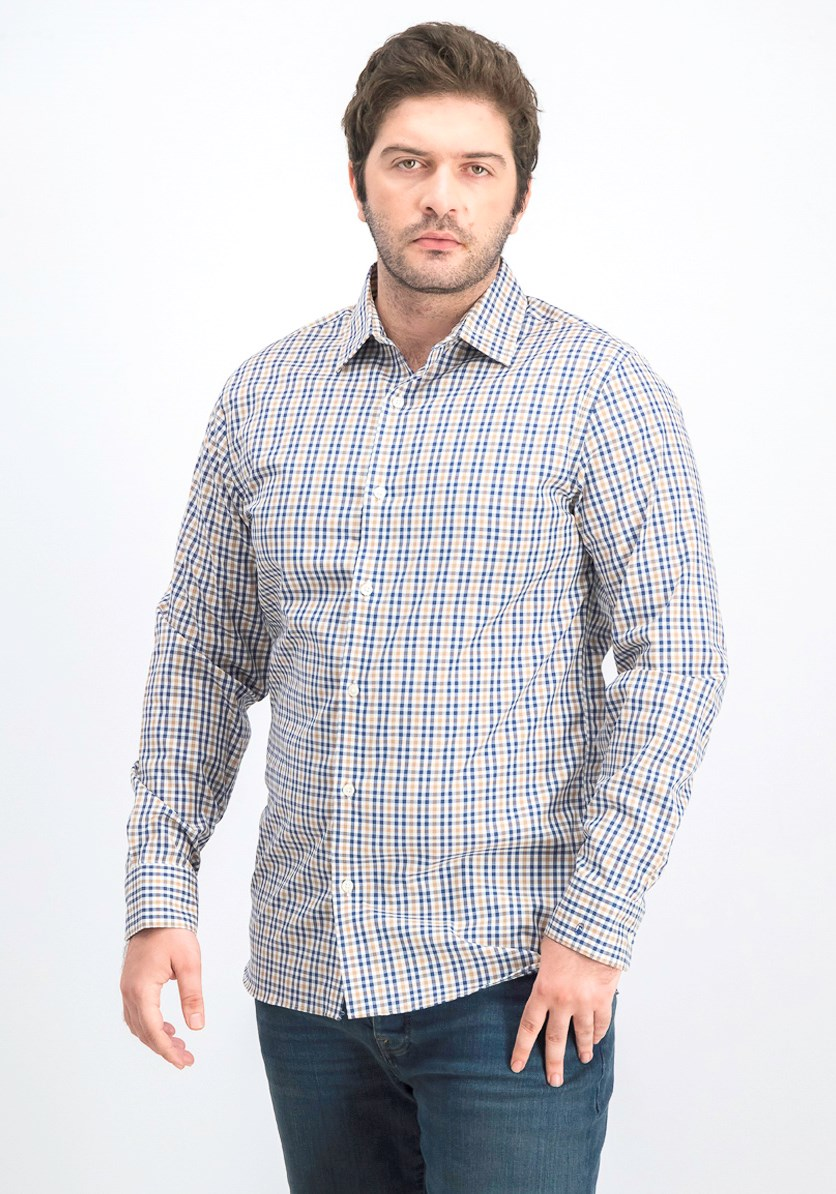 Men's Plaid Slim Fit Shirt, Navy/Tan