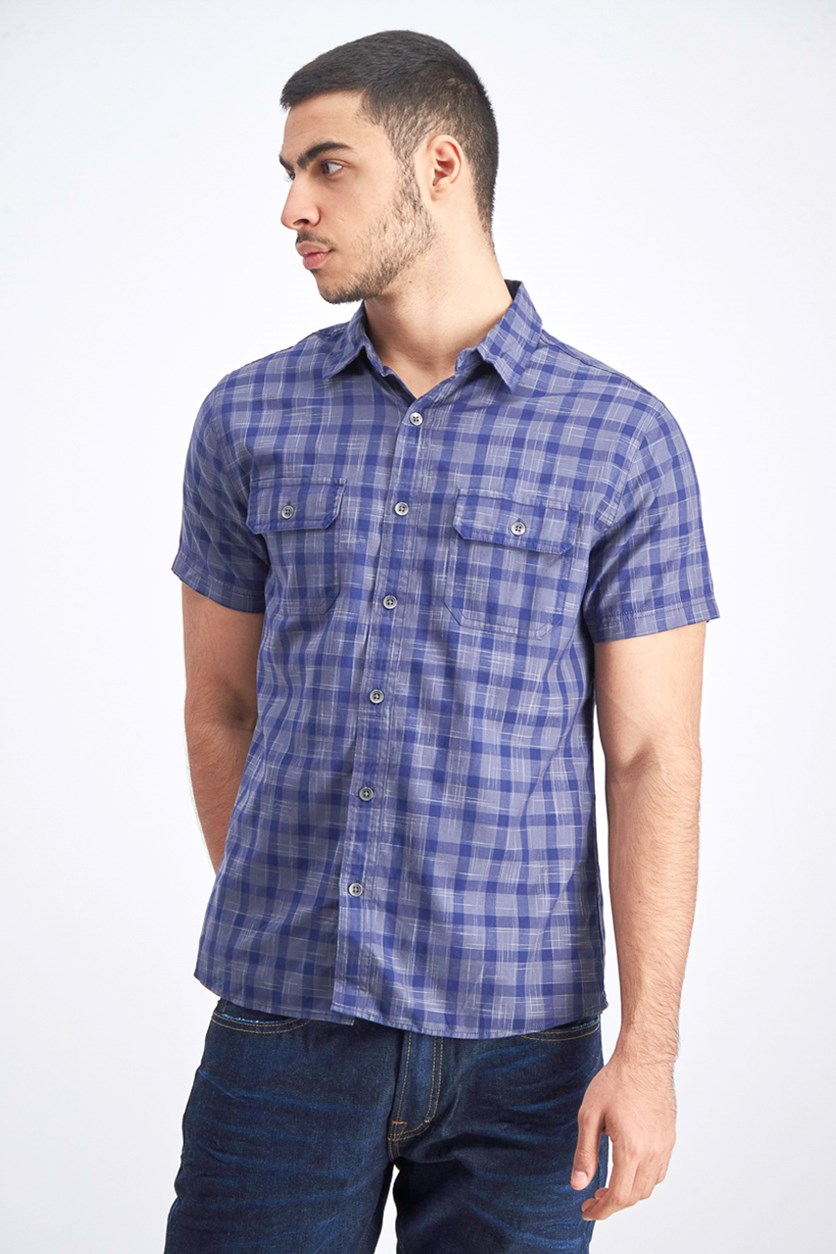 Men's Checkered Slim Fit Polo, Navy Blue/Grey