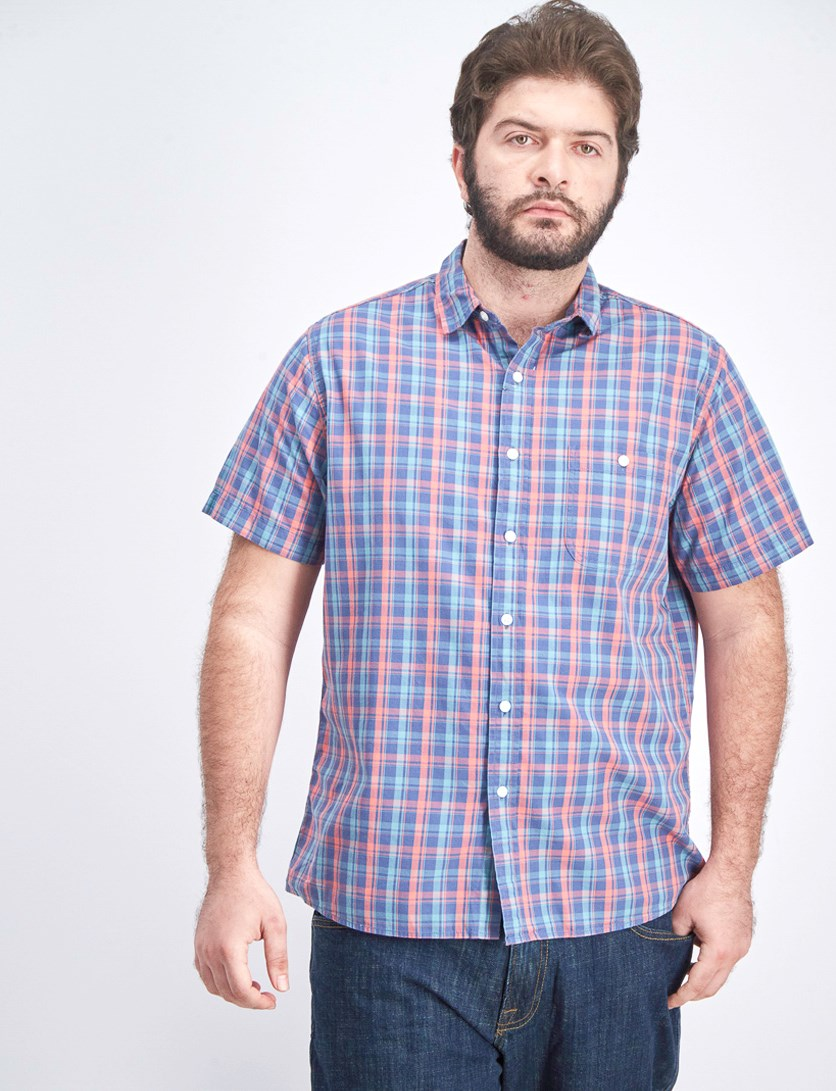 Men's Plaid One Pocket Coastal Shirt, Dark Blue/Coral