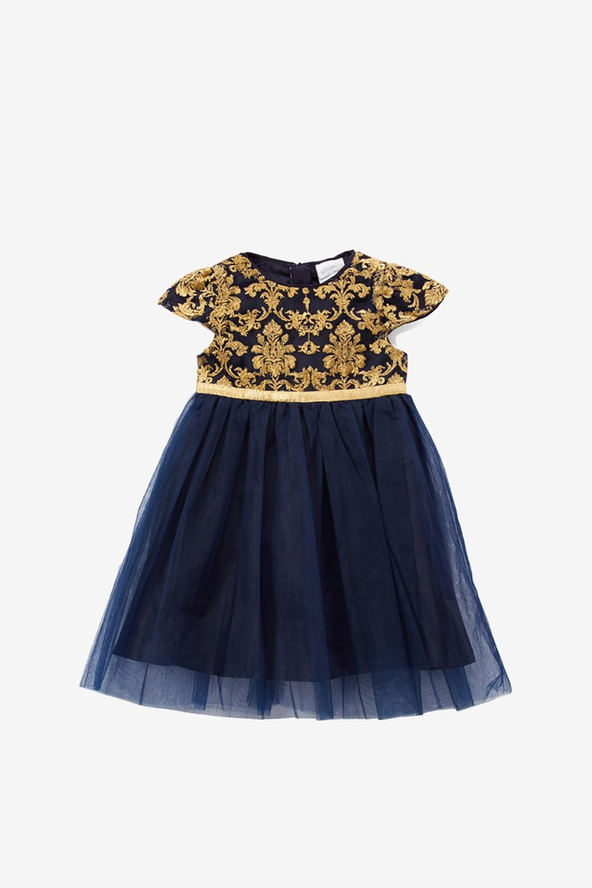 Little Embroidered Dress, Navy