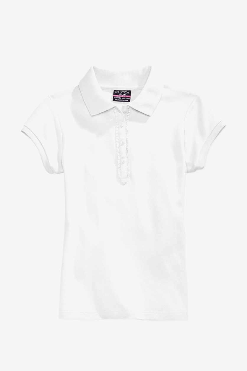 Little Girls Ruffle-Trim Polo Shirt, White