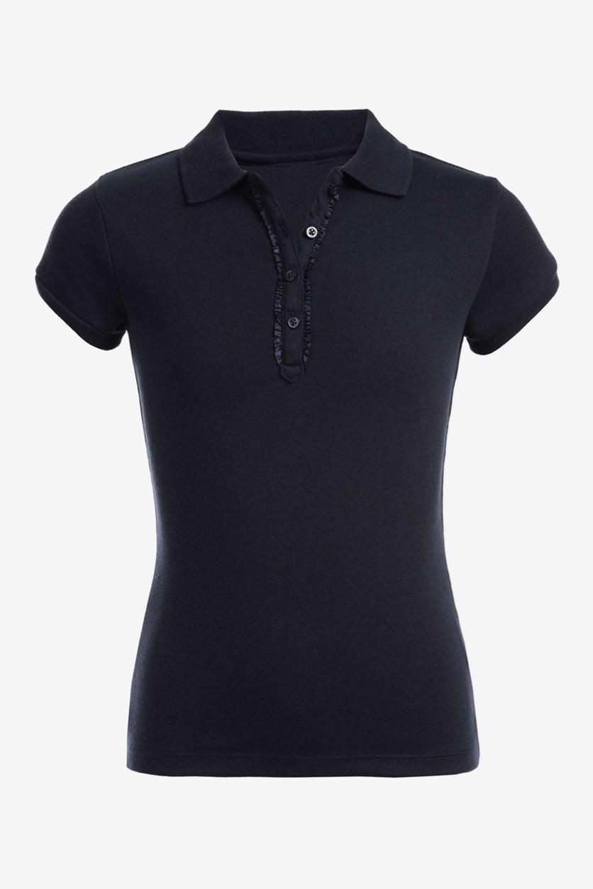 Short Sleeve Polo With Ruffle, Navy Blue