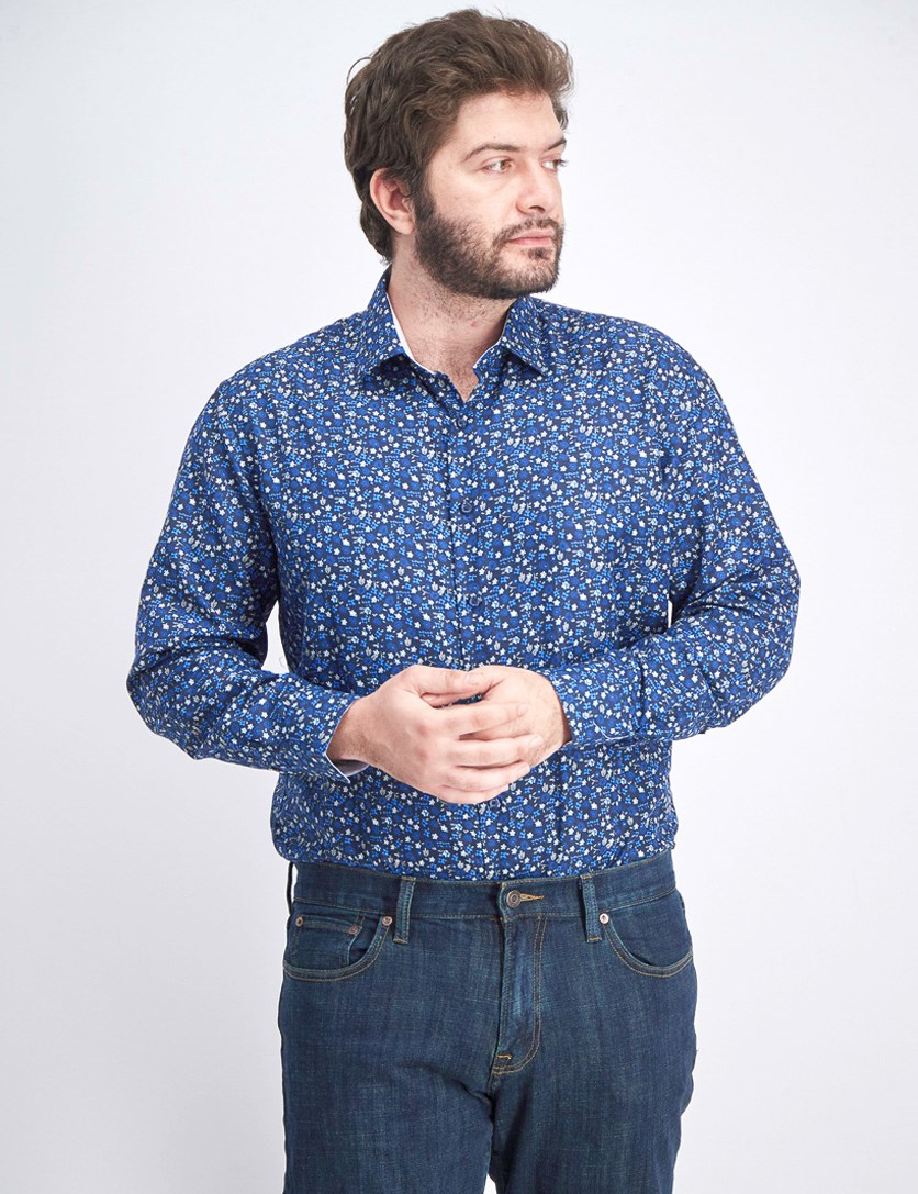 Men's Short Sleeve Printed Shirt, Navy