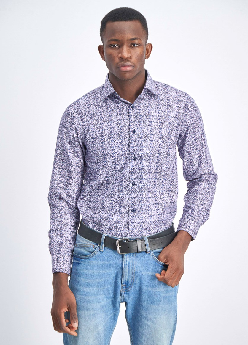 Men's Allover Print Floral Longsleeves, Navy Blue/Purple