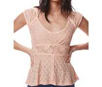 Free People Women's Besties Lace Tee,  Coral
