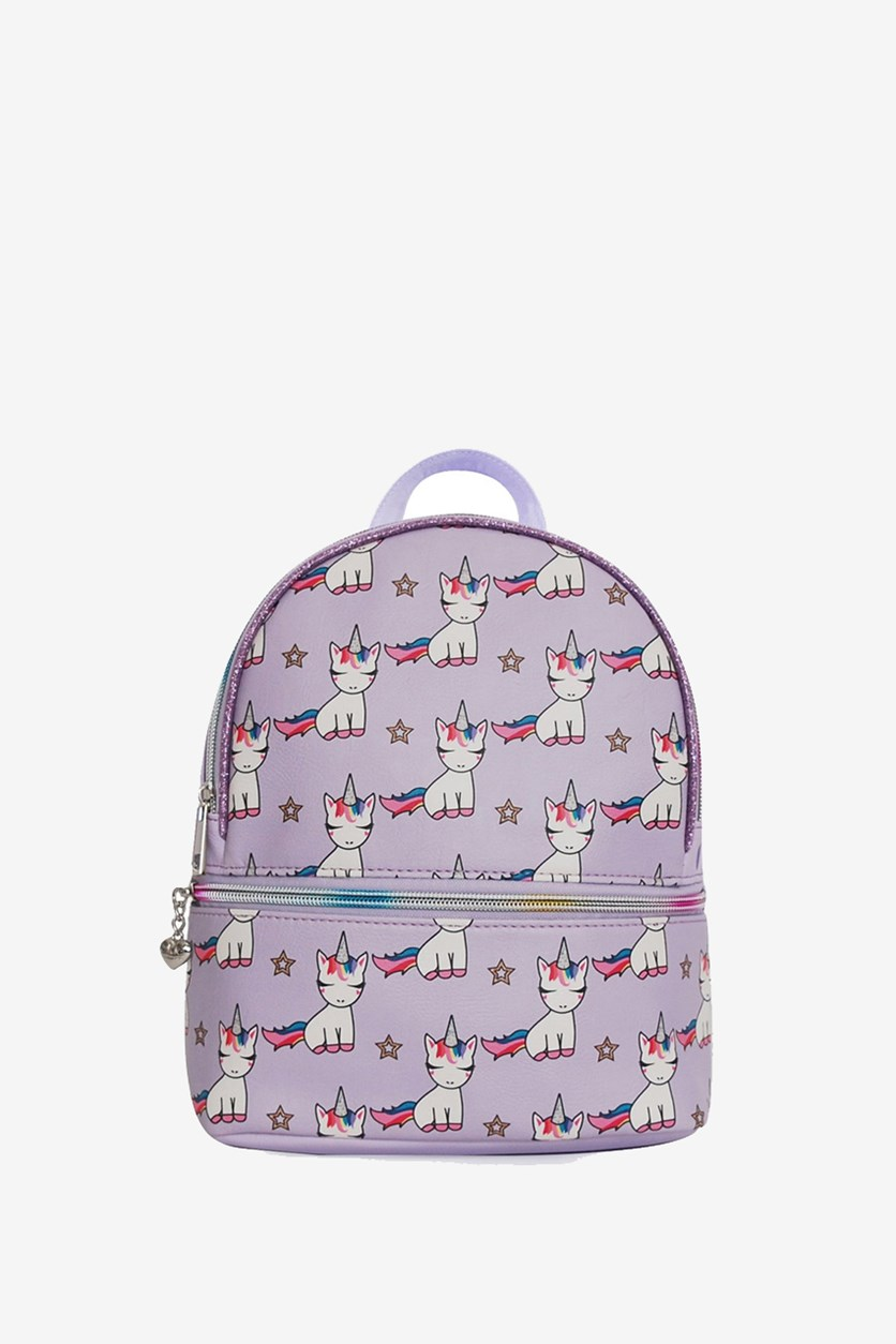 Baby Unicorn Printed Mini Backpack, Lilac Combo