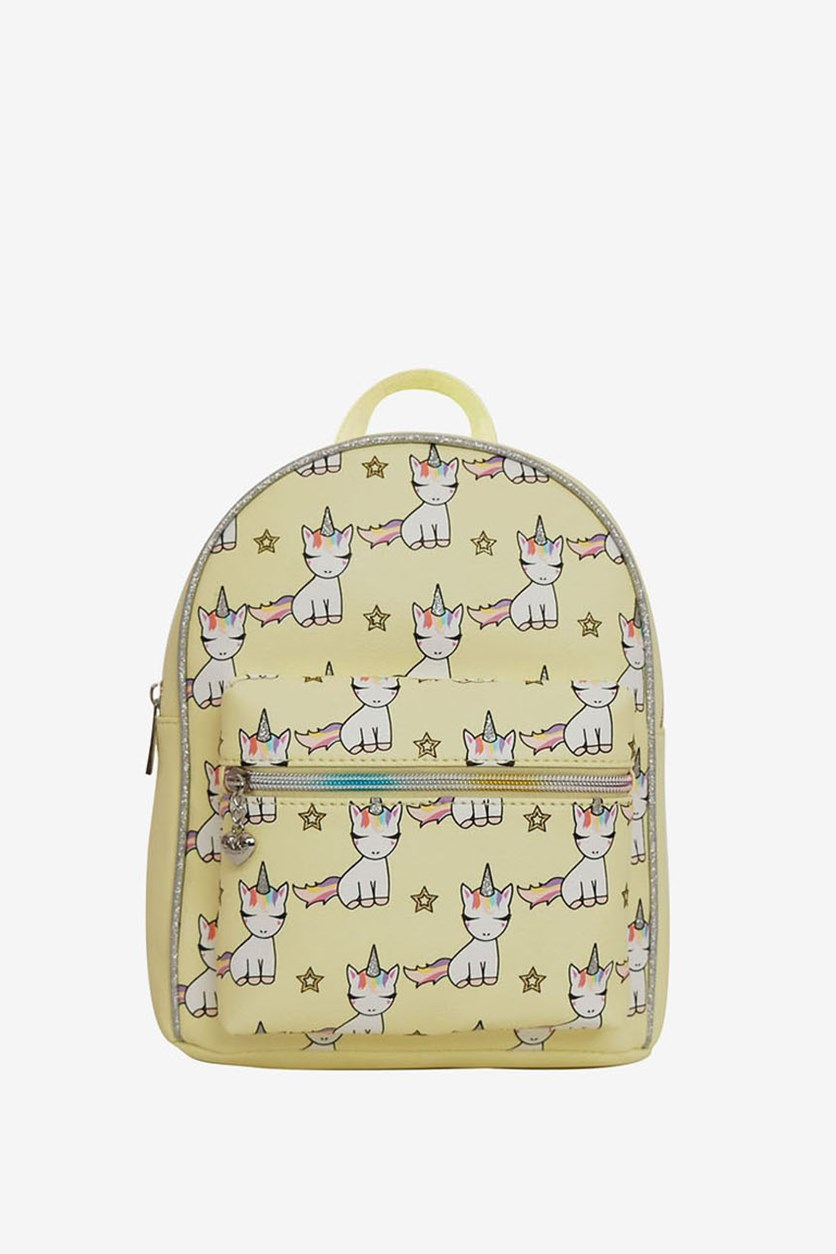 Baby Unicorn Print Mini Backpack, Yellow Combo