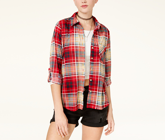 Polly & Esther Juniors' Plaid Roll-Tab Shirt, Red