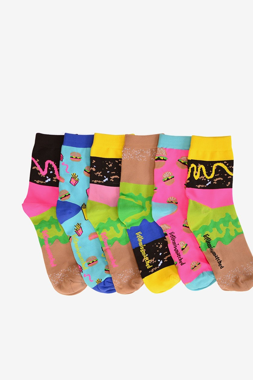 Unisex Smelly Socks Burger Anklets, Lime/Brown/Pink/Yellow