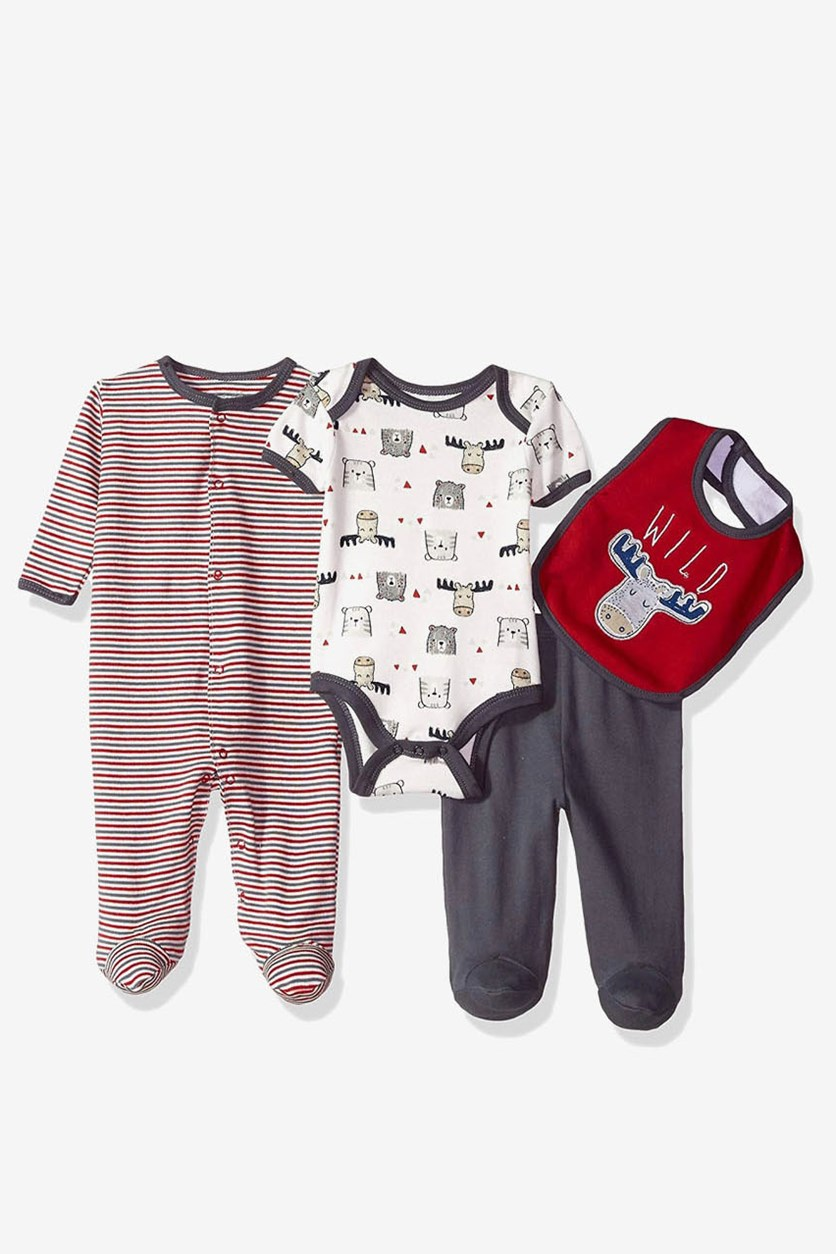 Little Boys 4 Pc Coverall Bodysuit Pant & Bib Set, Red/White/Navy