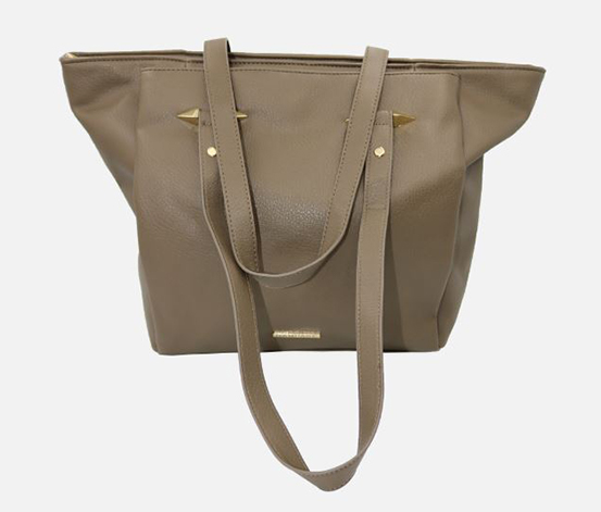 Rampage Women's Tote with Handle Hardware, Taupe