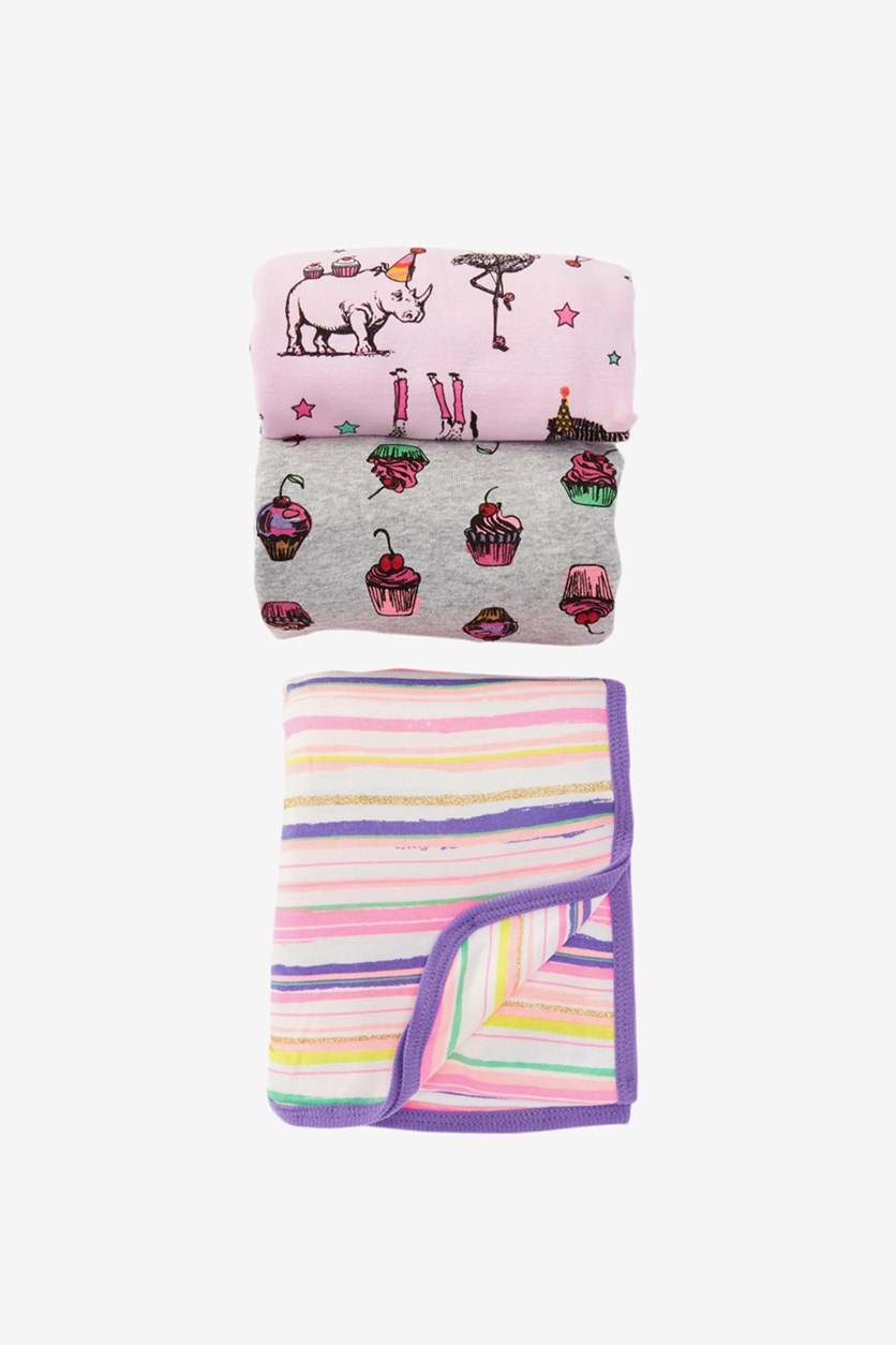Toddler's 3-Pack Printed Blanket, Grey/Pink Combo