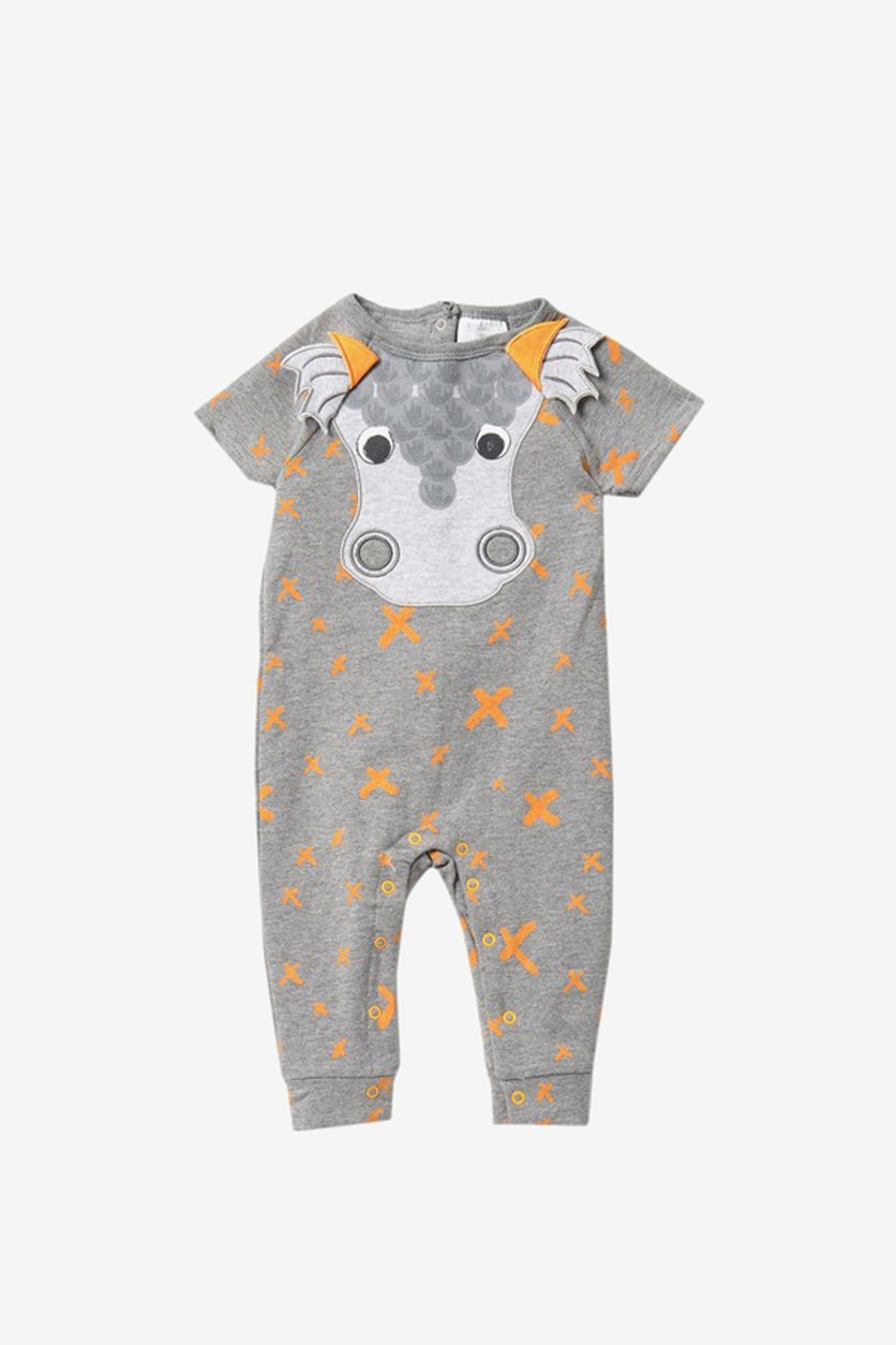 Baby Boy's Dragon Romper, Grey Heather