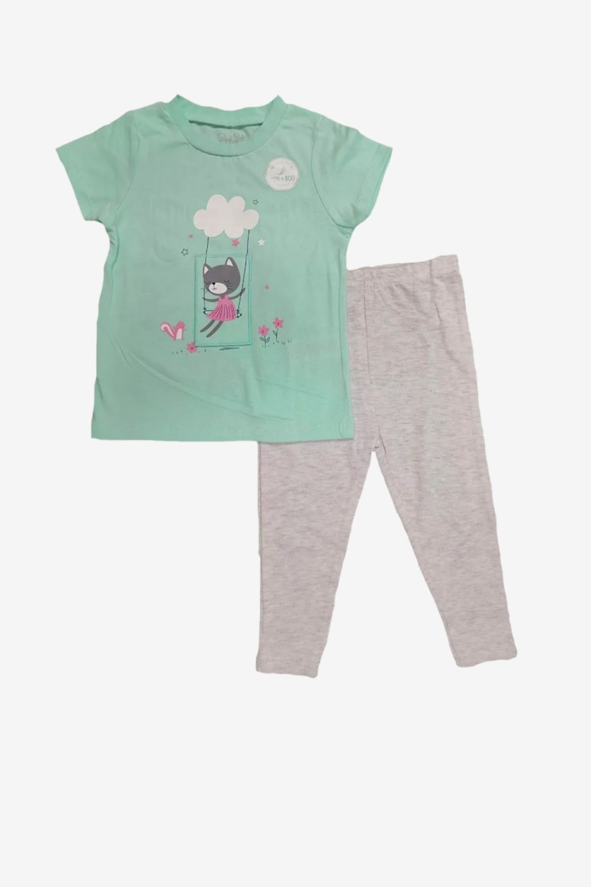 Baby Girls' Graphic Print 2Pcs Set, Green/Grey