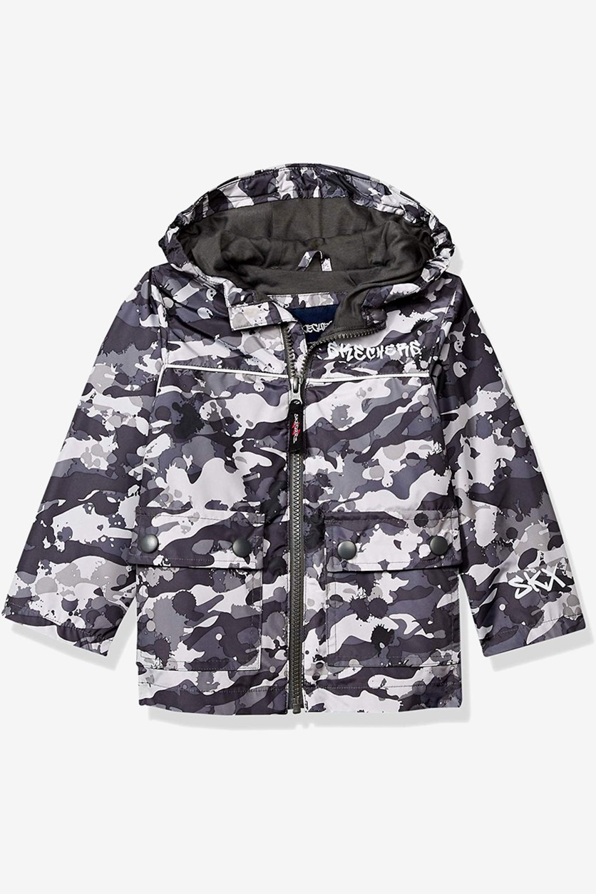 Toddler Boys Camo Rainslicker Rain Jacket, Grey