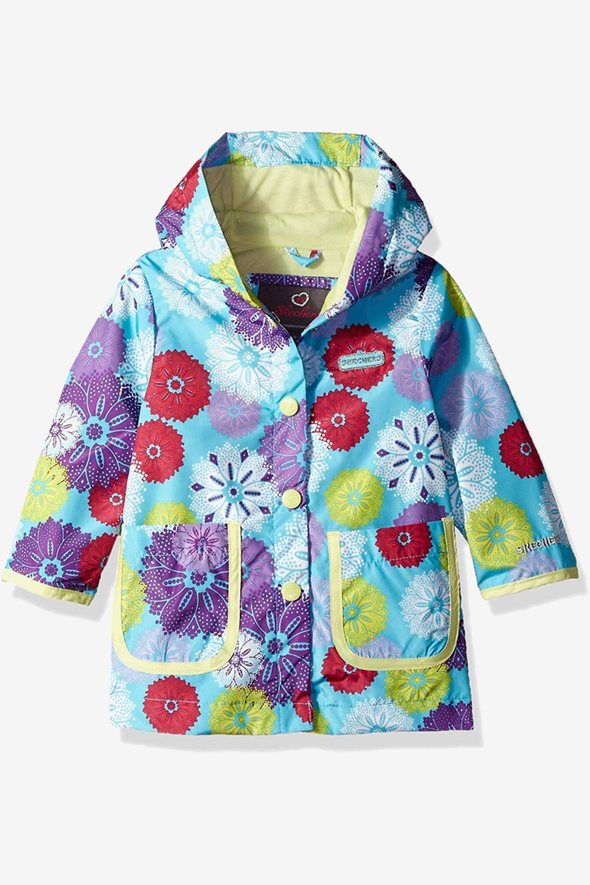 Girls Rainslicker Rain Jacket, Turquoise/Yellow/Red Combo