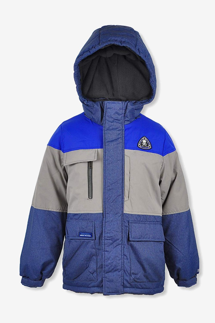 Toddler Boy's Hooded Long Sleeves Winter Jacket, Blue/Grey