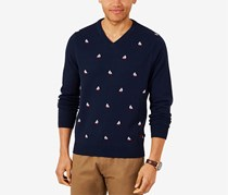 Men's Sailboat Printed Shirt, Navy