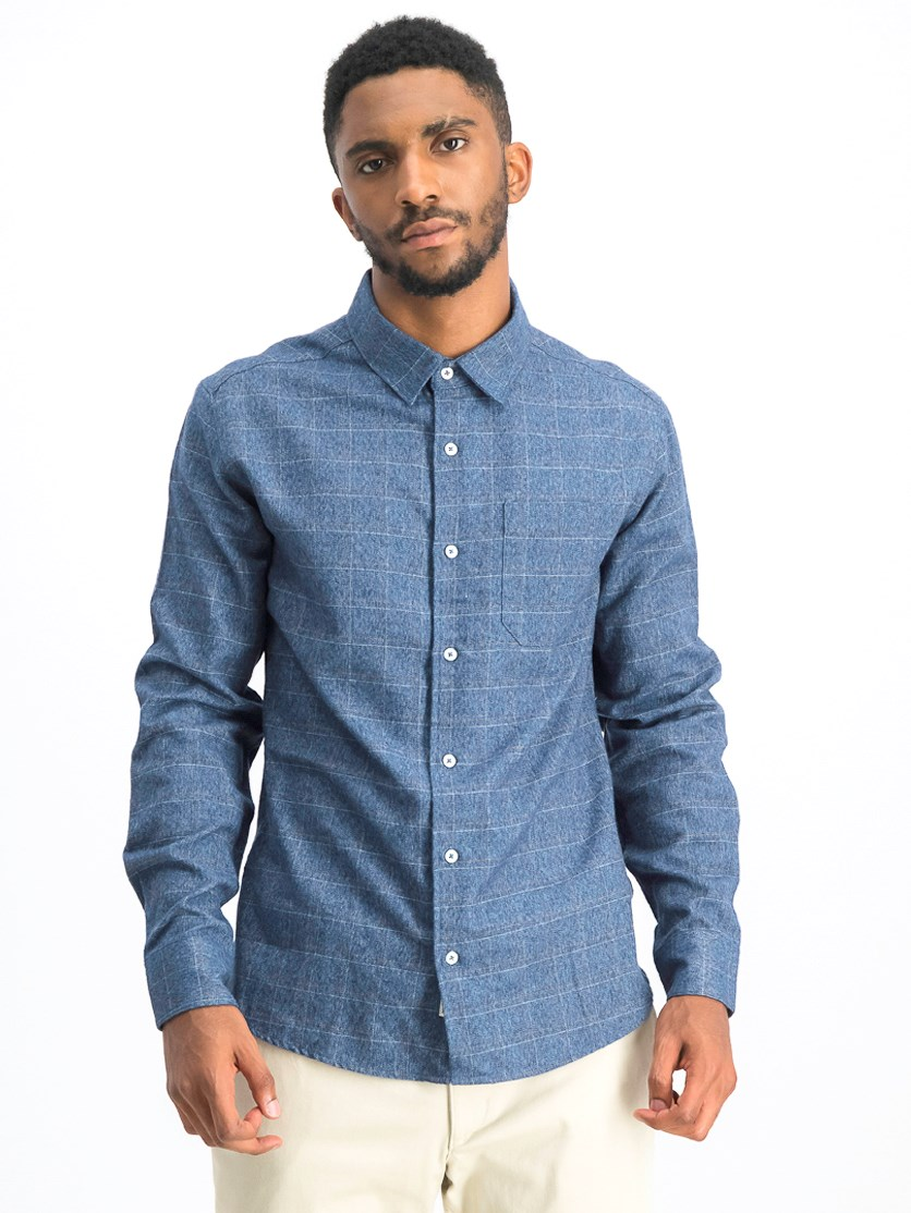 Men's Plaid Shirt, Indigo Blue