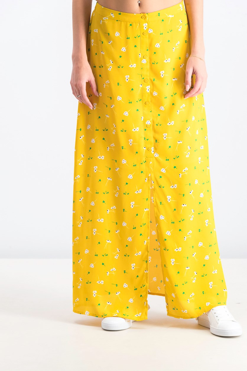 Women's Merry Button Front Maxi Skirt, Yellow