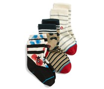 Stance Toddler Boy's 3-Pack Socks Set, White/Navy/Beige