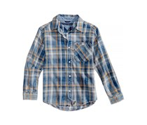 Tommy Hilfiger Boy's Chance Plaid Cotton Shirt, Blue