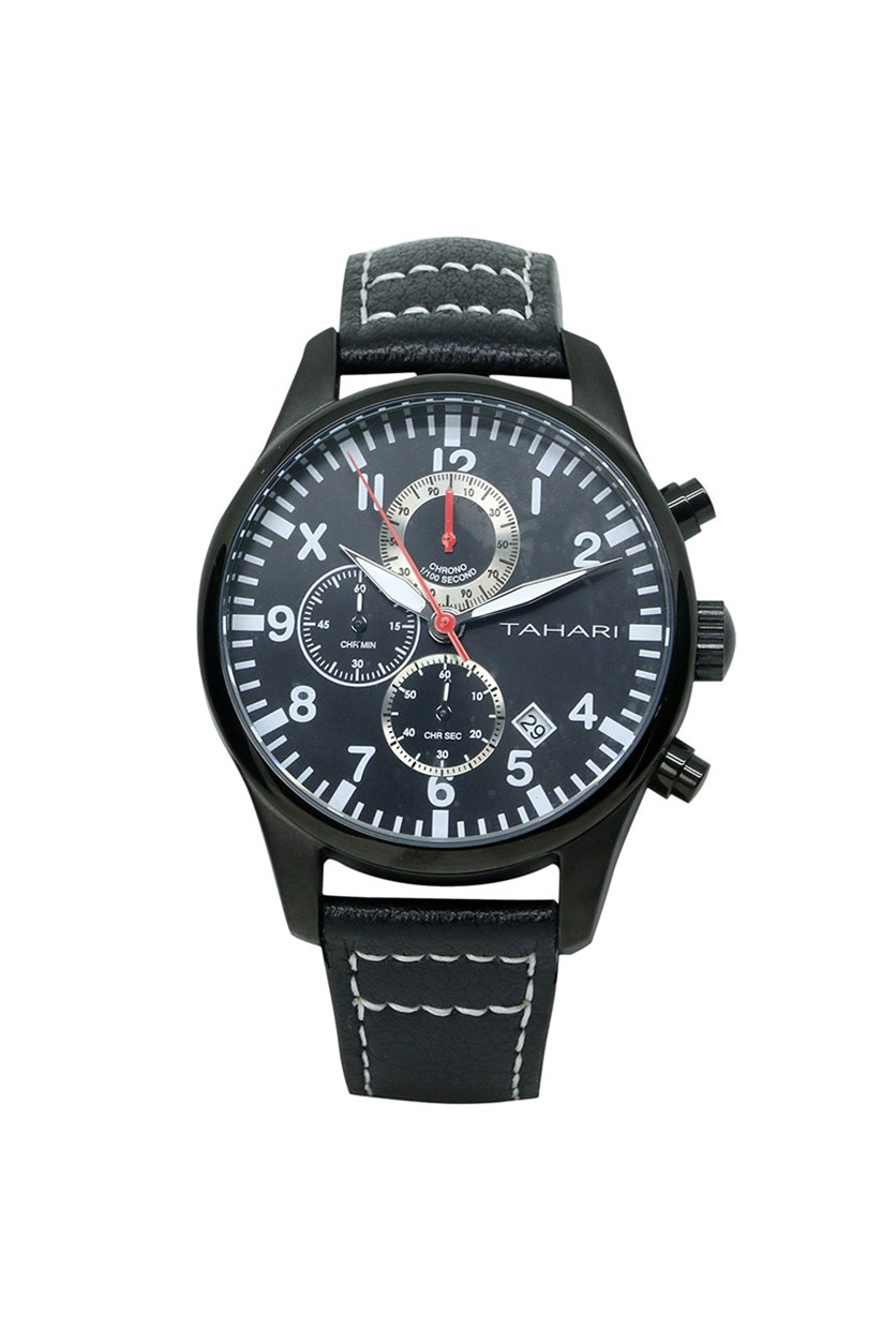 Men's Genuine Leather Analog Watch, Black
