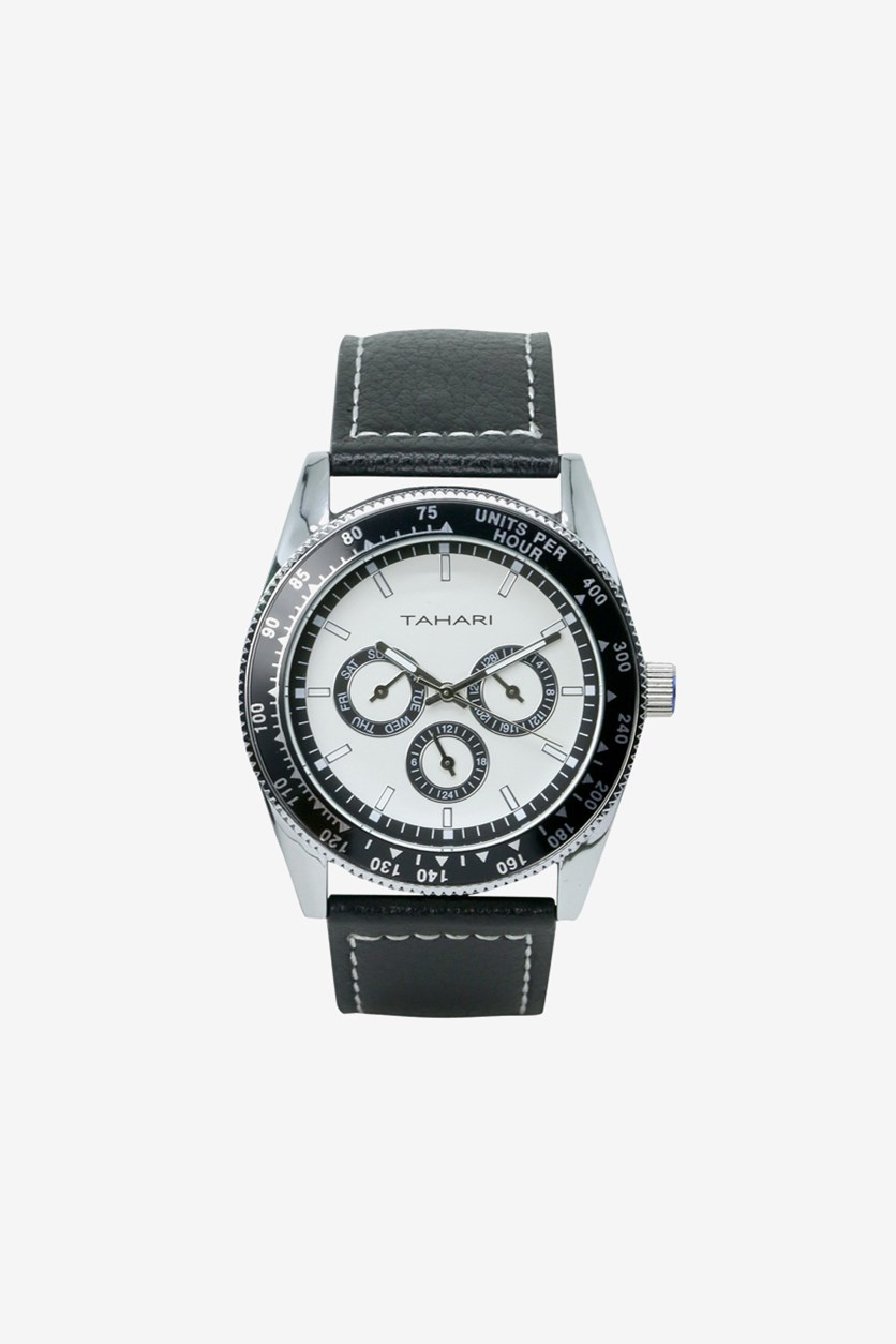 Mens Genuine Leather Analog Watch, Black/White