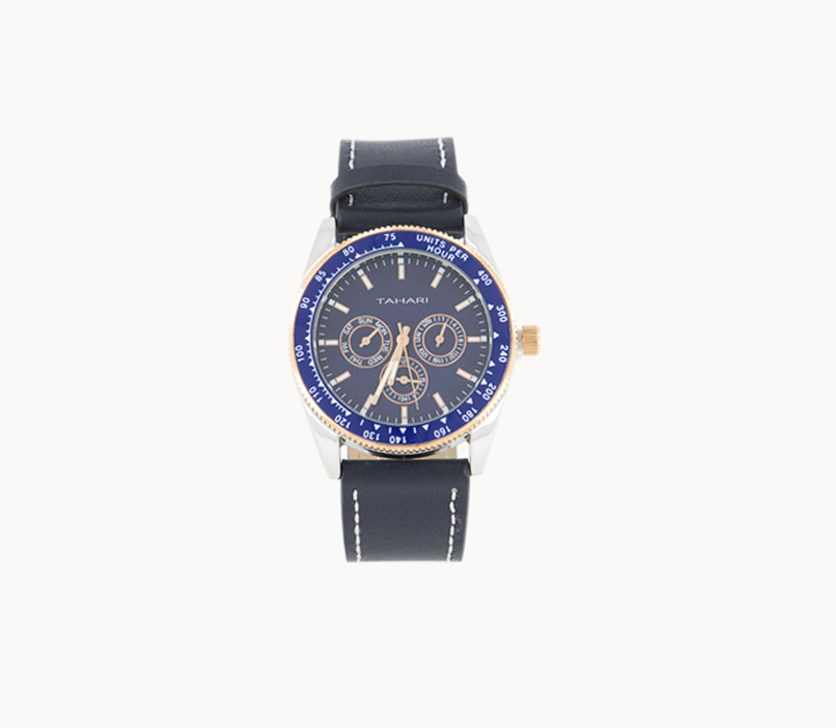 Men's Genuine Leather Analog Watch, Blue