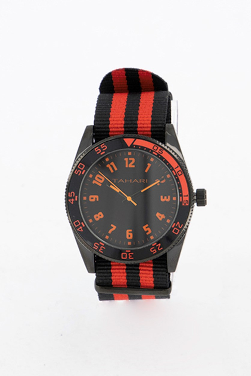 Men's Stripe Nato Strap Analog Watch, Black/Red/Orange