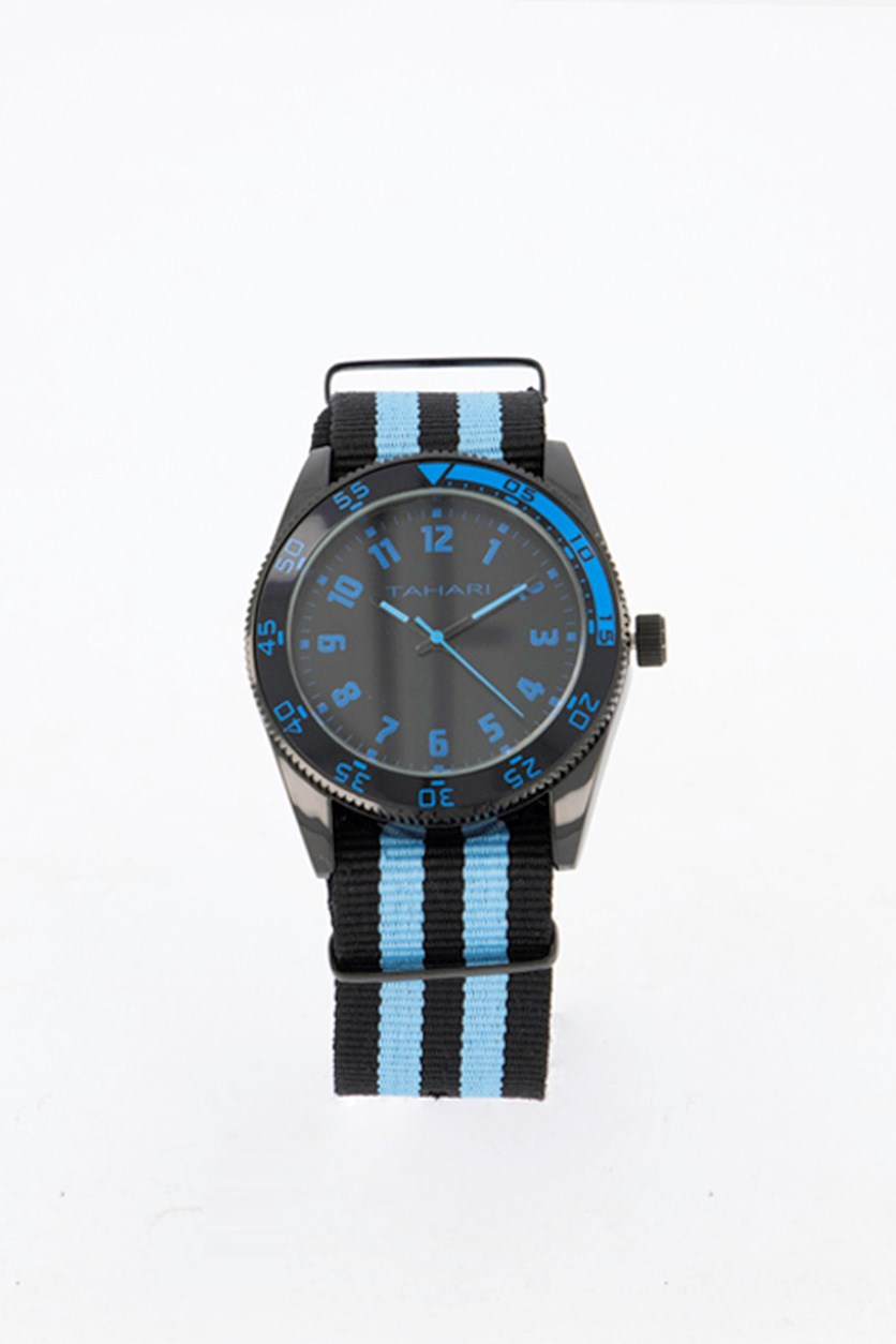 Mens Nato Strap Analog Watch, Blue/Black