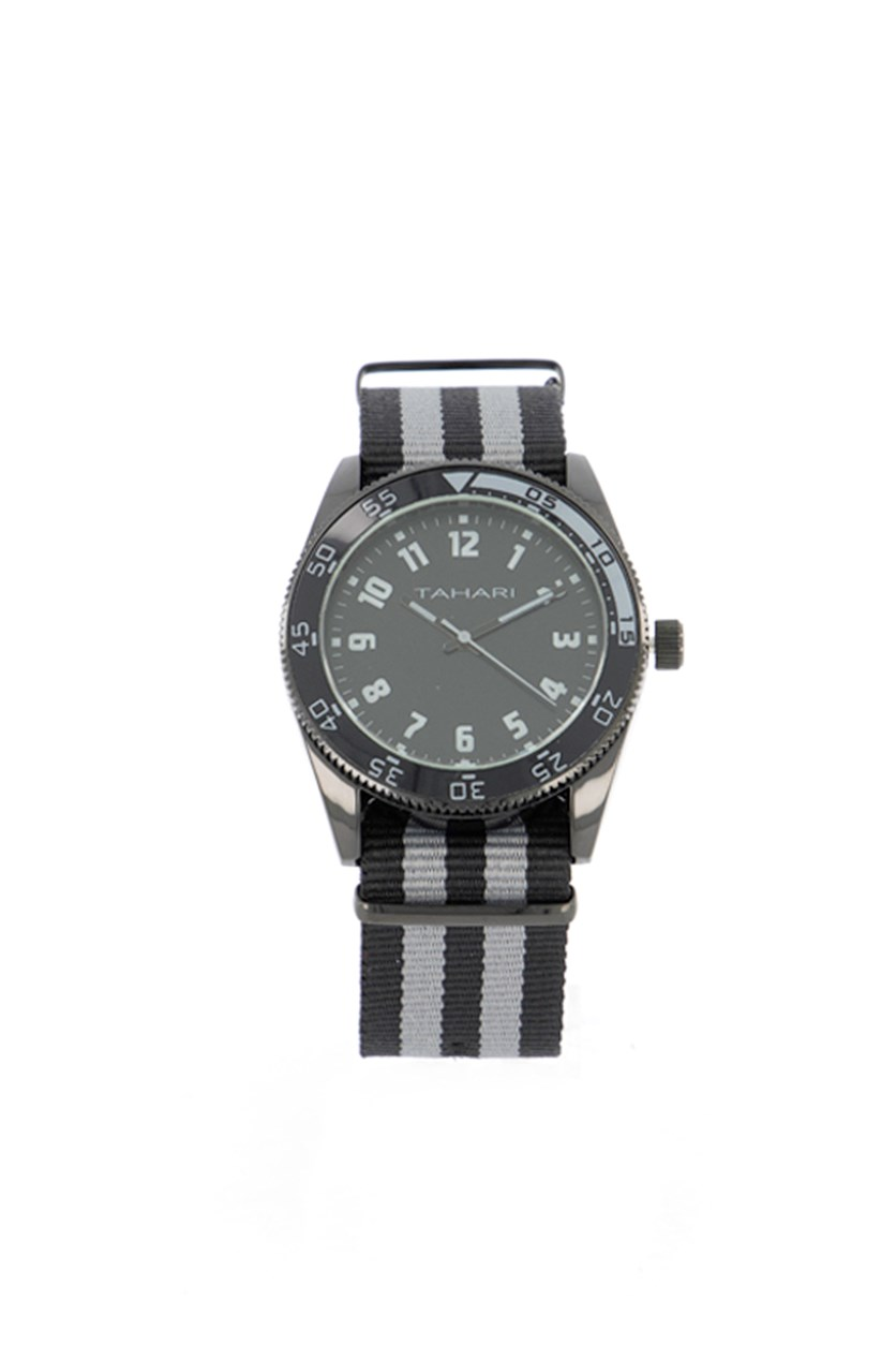 Men's Stripe Nato Strap Analog Watch, Black/Grey