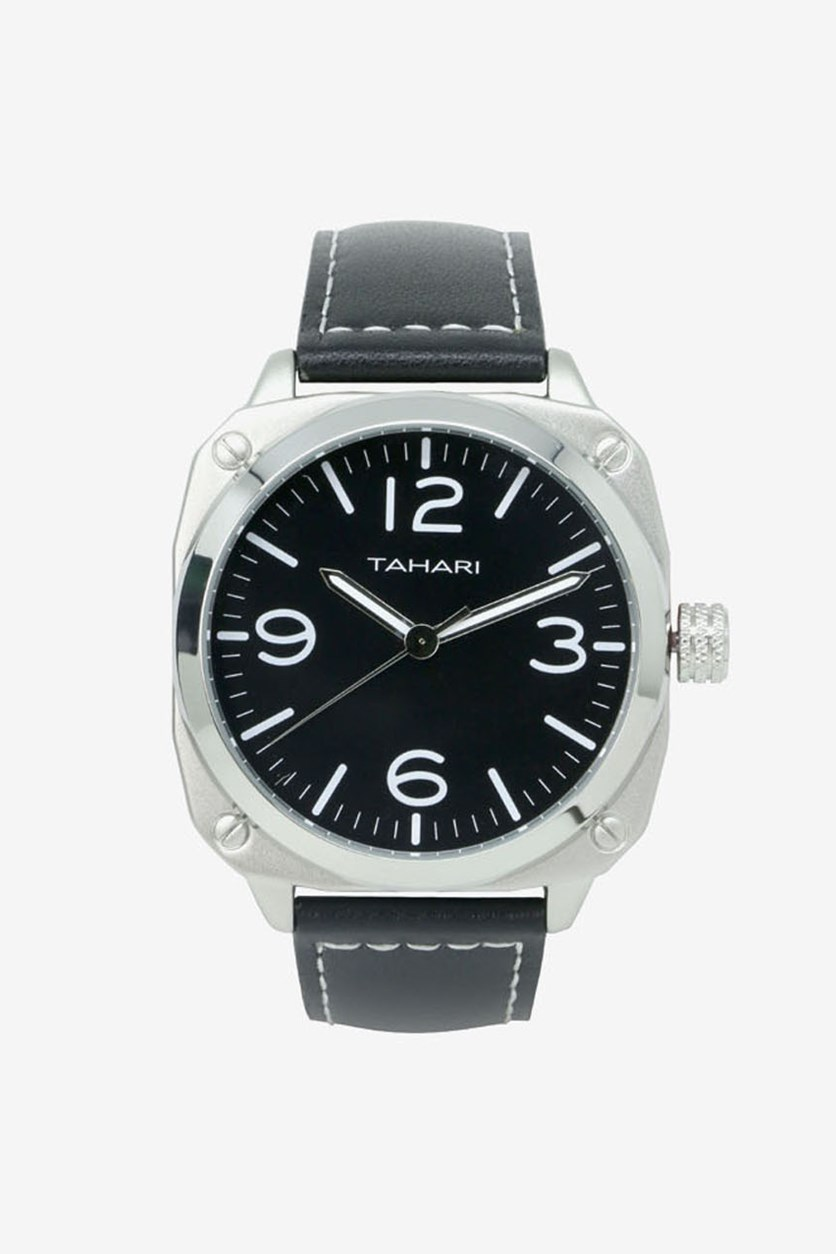 Men's Genuine Leather Analog Watch, Black/Grey