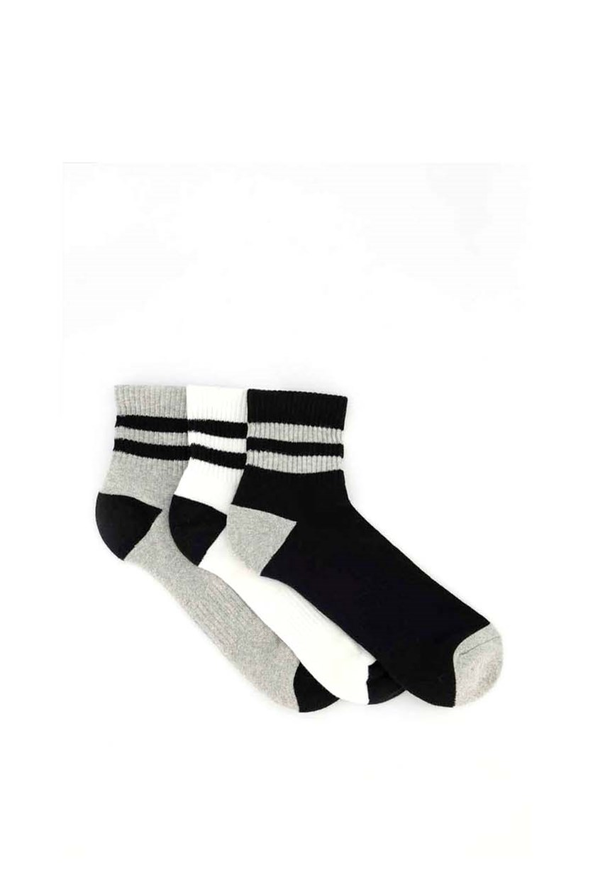 Men's 3 Pairs Mid Length Socks, White/Black/Grey