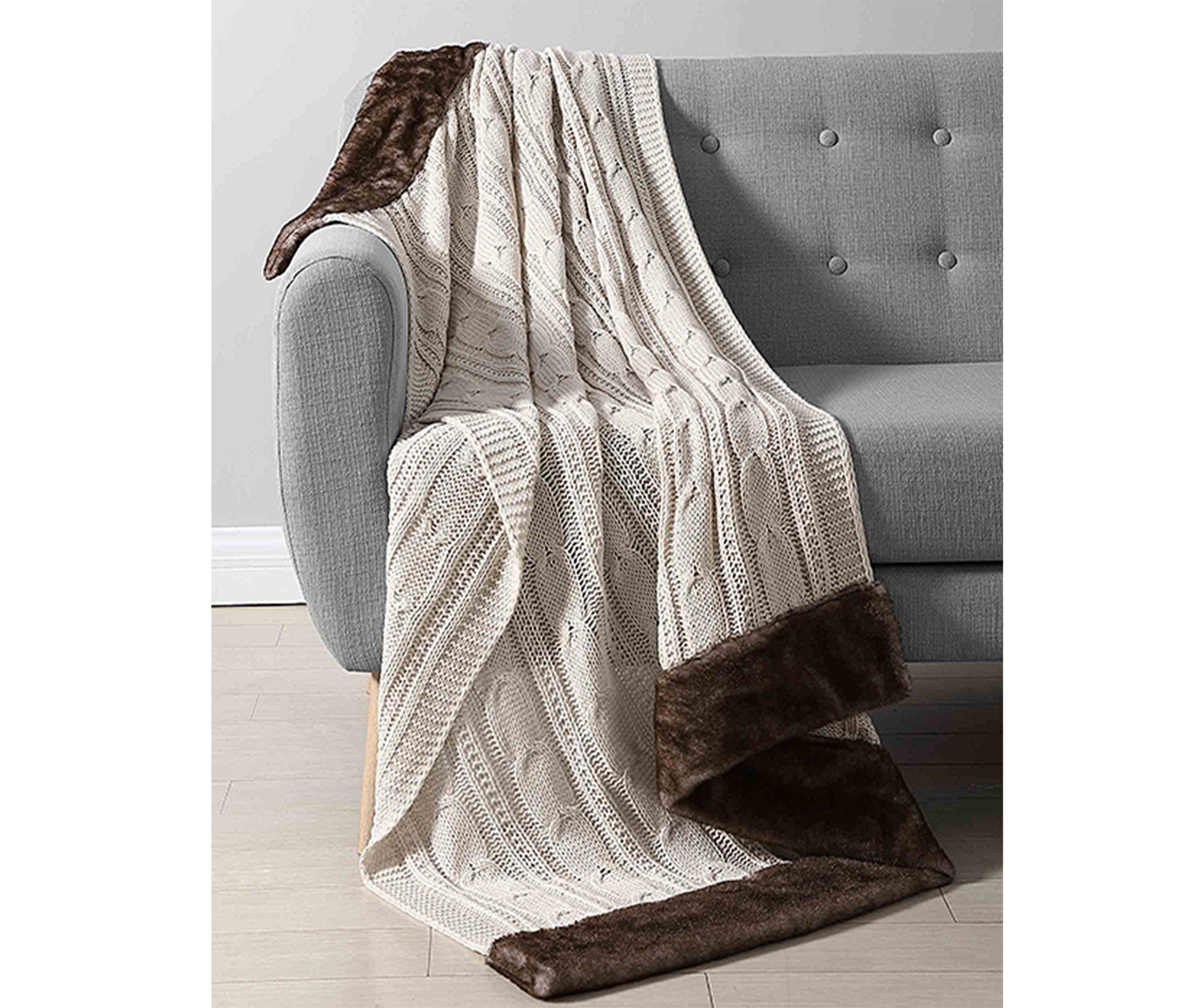 Chenille Knit Throw, Ivory/Brown