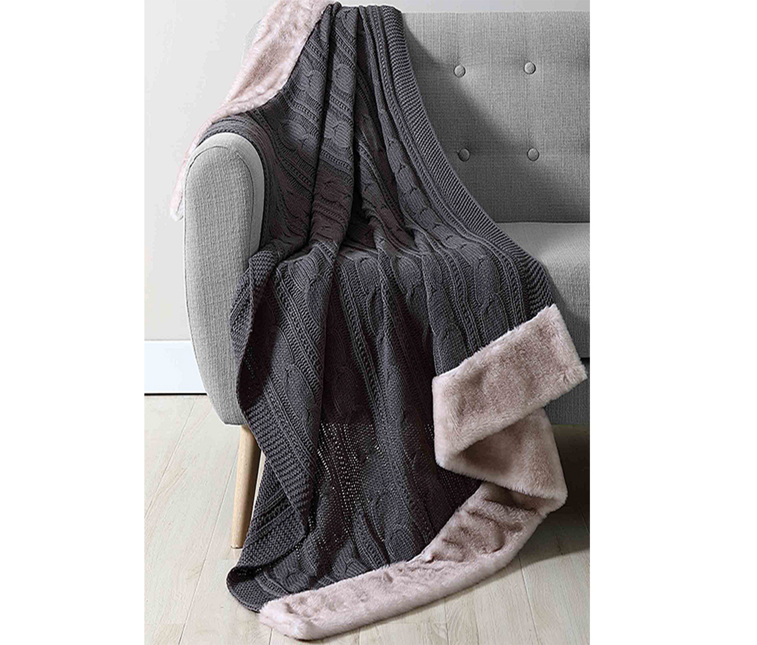 Chenille Knit Throw,  Charcoal